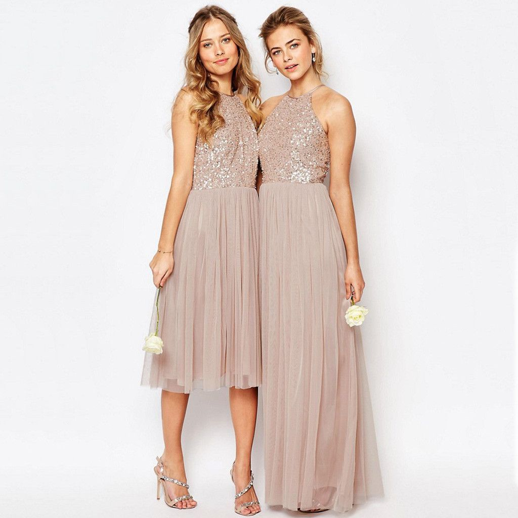 Charming Sequin Top Tulle Sparkly Gorgeous Short Long Bridesmaid Dresses Wg130