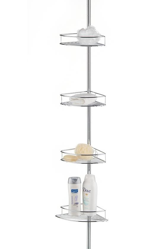Shower Tension Pole with Four Baskets - Corner Shower Caddy - Shower ...