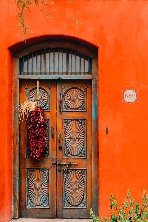 Orange The Color Of Prosperity Tucson Arizona Lightbeingmessages Com Beautiful Doors Cool Doors Painted Doors