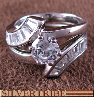 Sterling Silver Jewelry Cubic Zirconia Wedding Ring Set RS55522