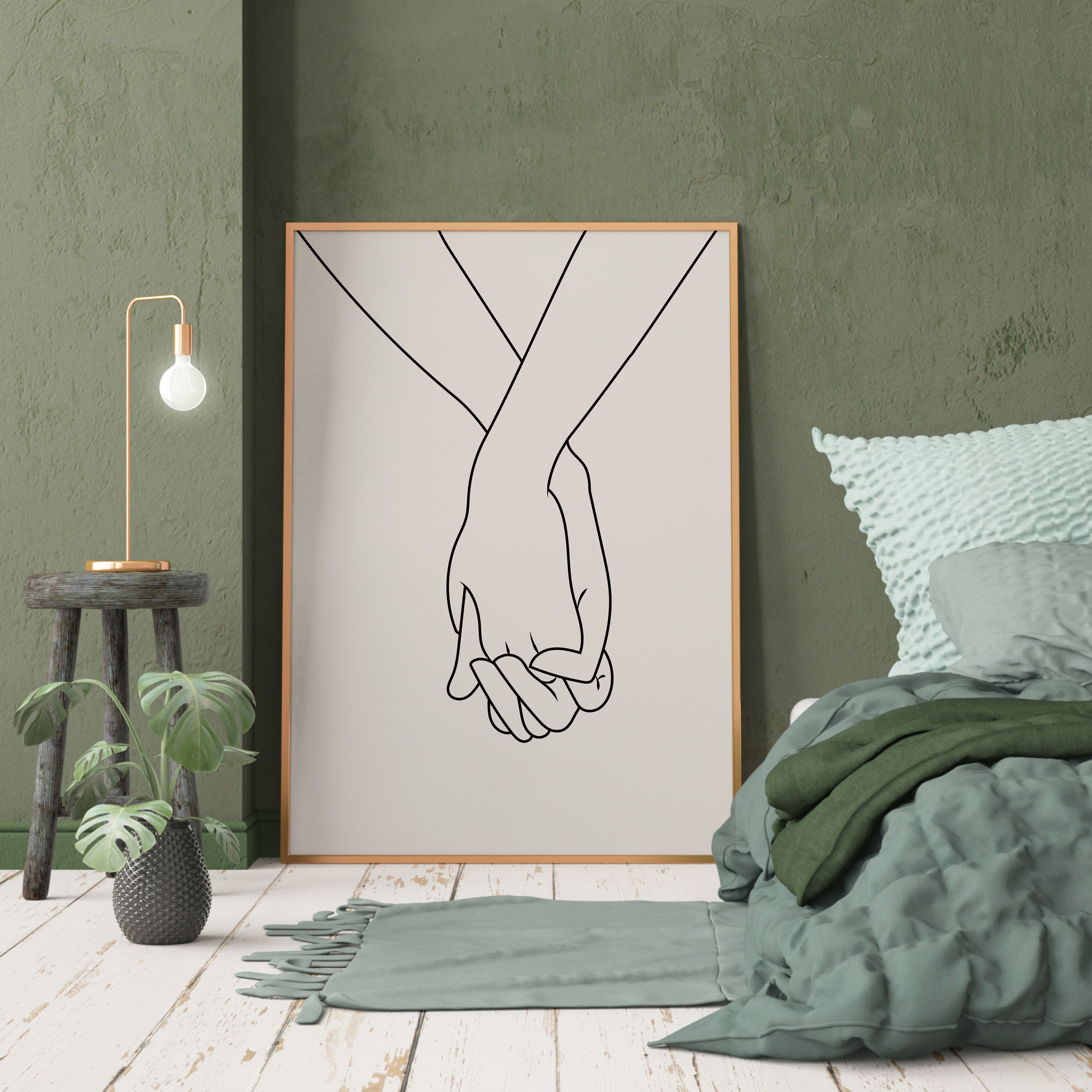 Couple hands neutral colors line drawing lovers hands