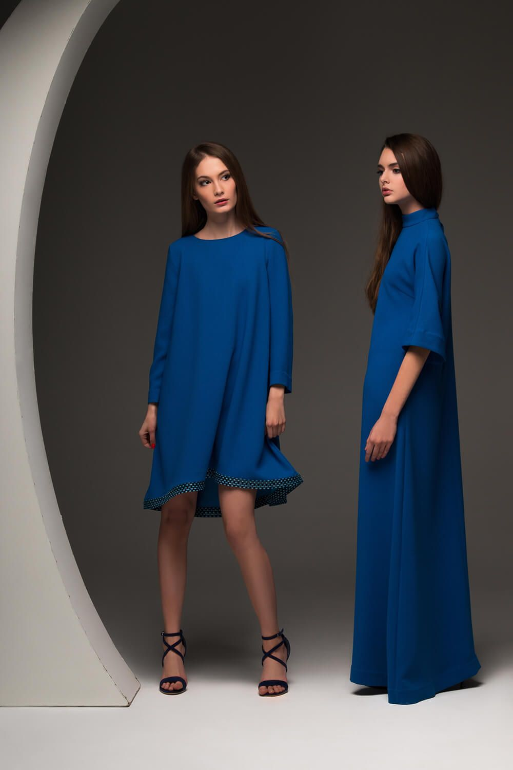 Stylish Mini Flare Dress In Bondi Blue Color Long Evening Amazing Deep Straight Silhouette Flared 3 4 Sleeve Little Cutout On The Back