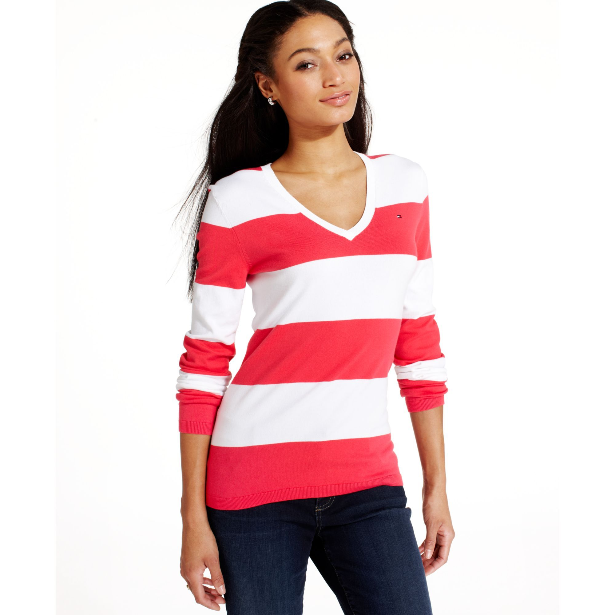 tommy-hilfiger-white-long-sleeve-striped-v-neck-sweater-product-1 ...