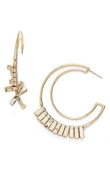 Alexis Bittar 'Baguette Fringe' Wire Hoop Earrings
