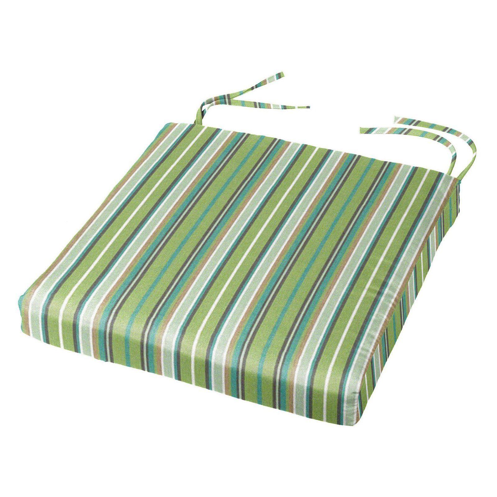 Cushion Source 16 X 16 In Striped Sunbrella Dining Chair Pad