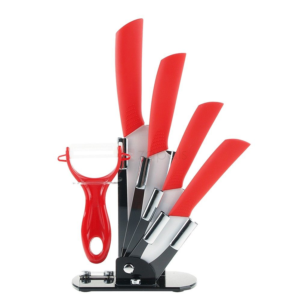 Ceramic Knives Kitchen Knife Set With Peeler   Red