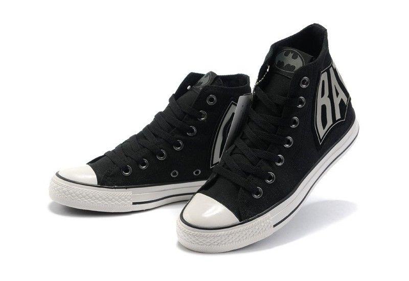 1568b58eb70b Converse Shoes Black with Grey letter DC Comics Batman Caped Crusader Womens  Mens Canvas Hi Sneakers