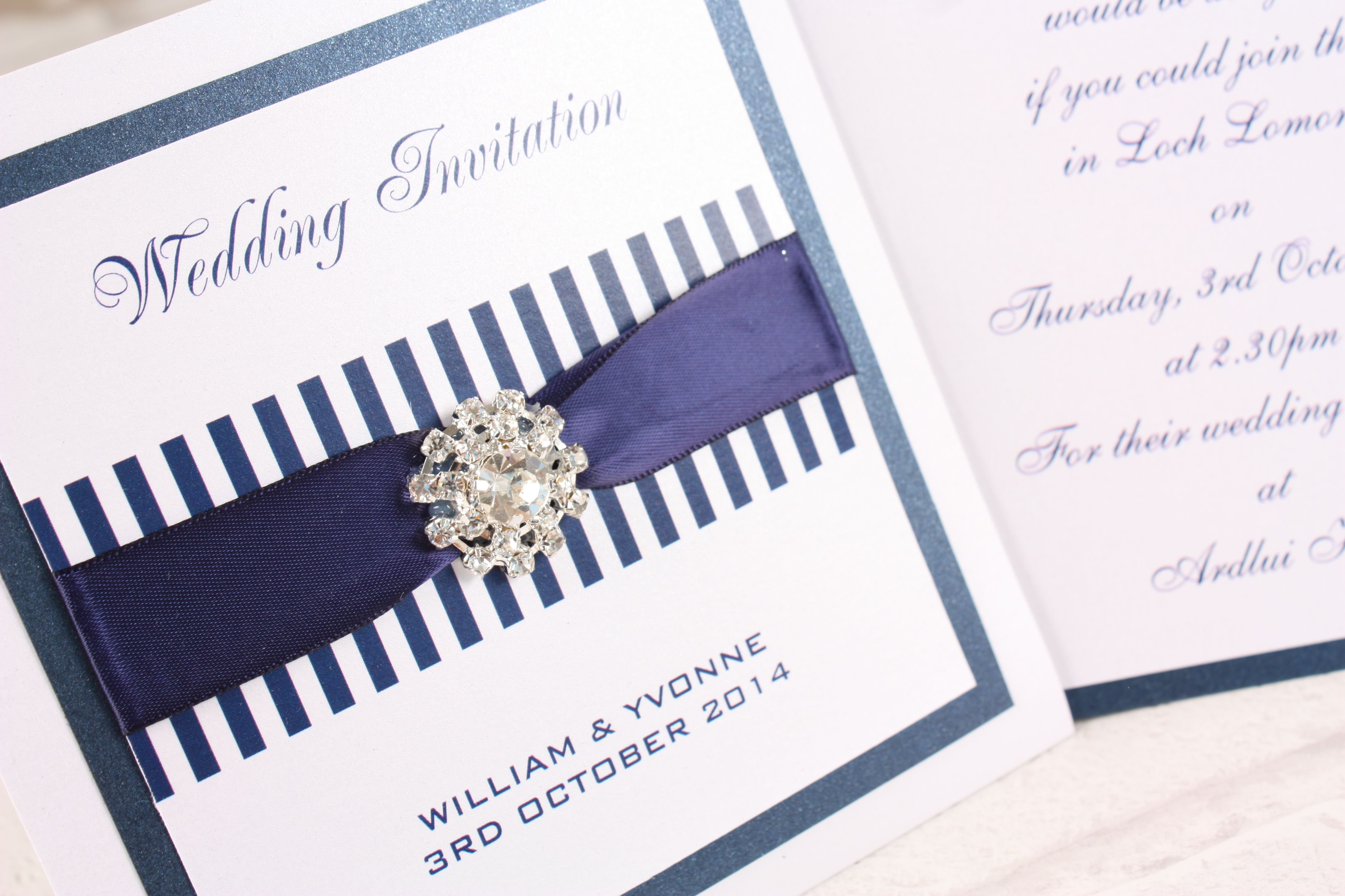 Navy Blue & White Wallet style personalised Wedding Invitation from ...