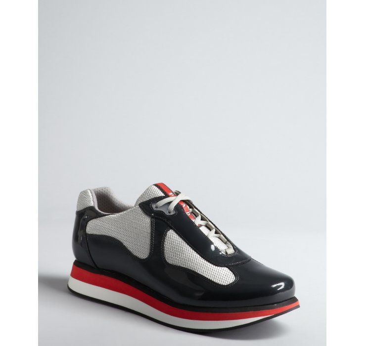 discount price Prada White & Silver Leather & Mesh Sneakers discount prices sale marketable big sale cheap online G0VXU