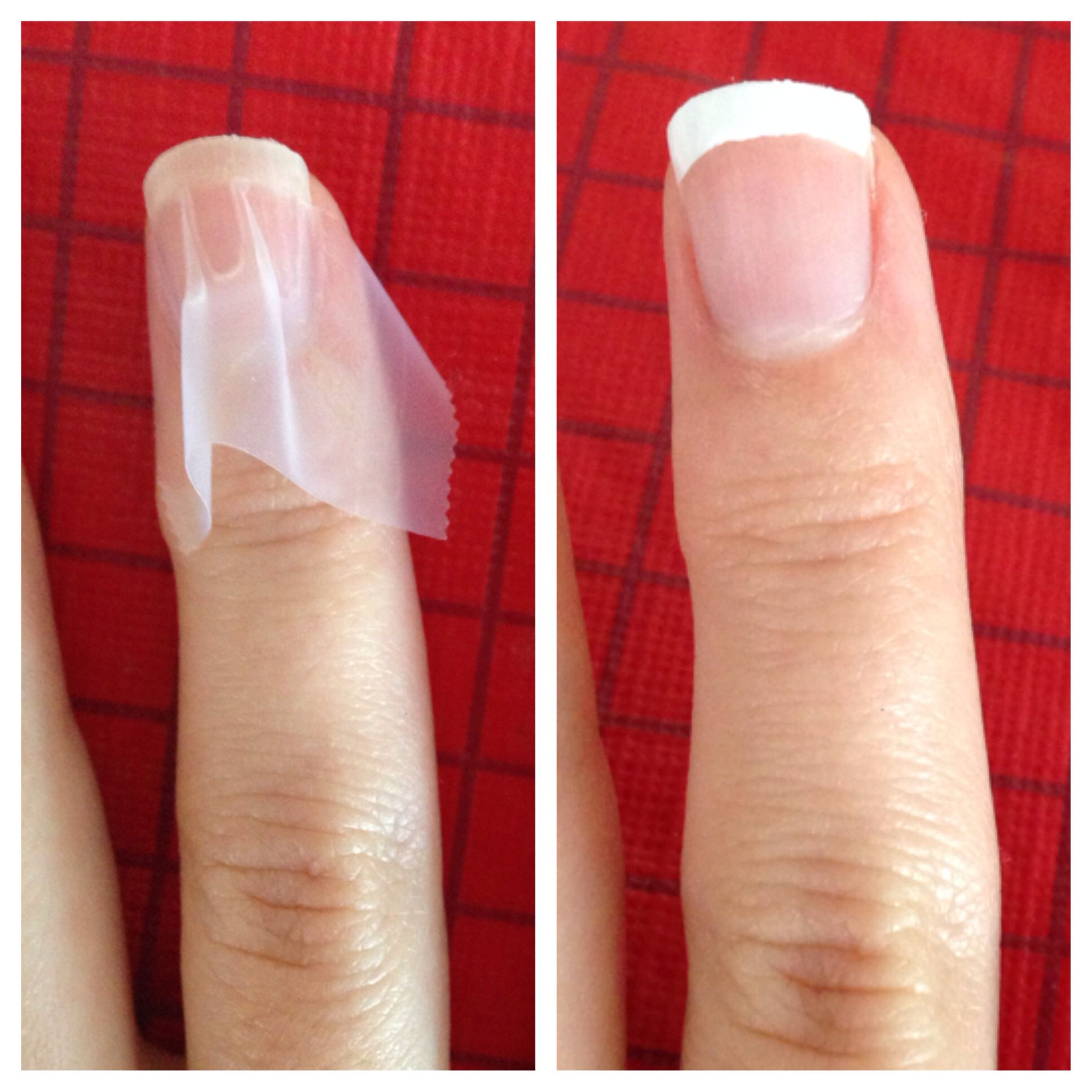 East DIY French Manicure! Line your nail with tape in the shape you ...