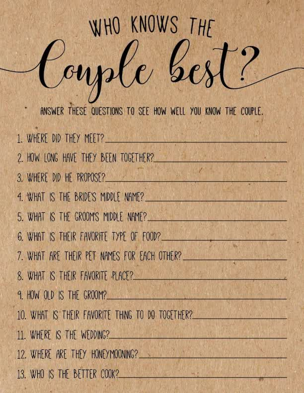 Who Knows The Couple Best ? Bridal Shower Games. B