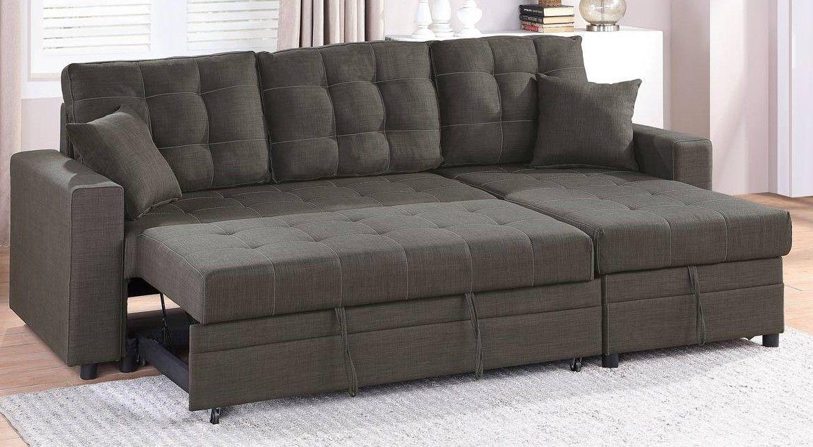 Poundex F6591 2 Pc Latitude Run Venters Ash Black Polyfiber Sectional Sofa Set Pull Out Sleep Area With Chaise Sectional Sofa Sofa Set Sofa