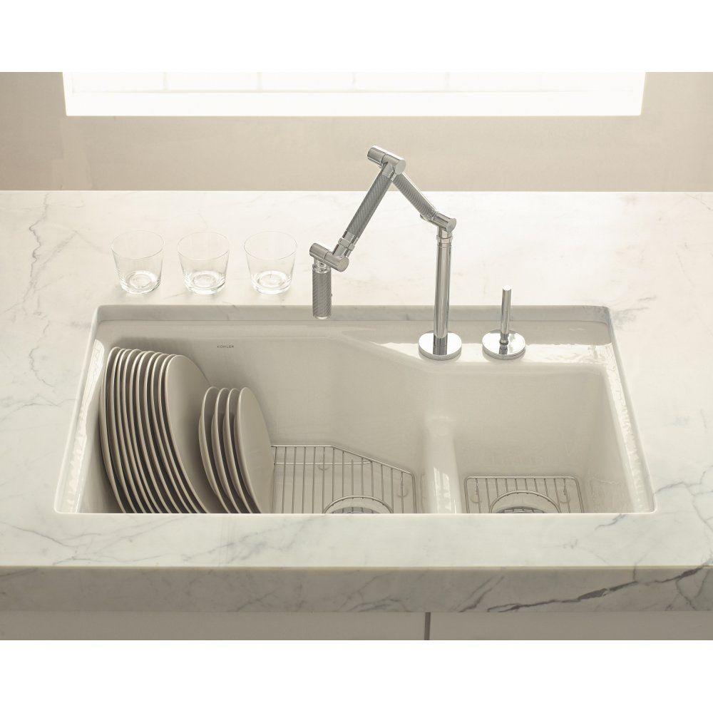 """PB. """"Indio"""" by Kohler. $995 @ Home Depot. Offset bowls. Feature I ..."""