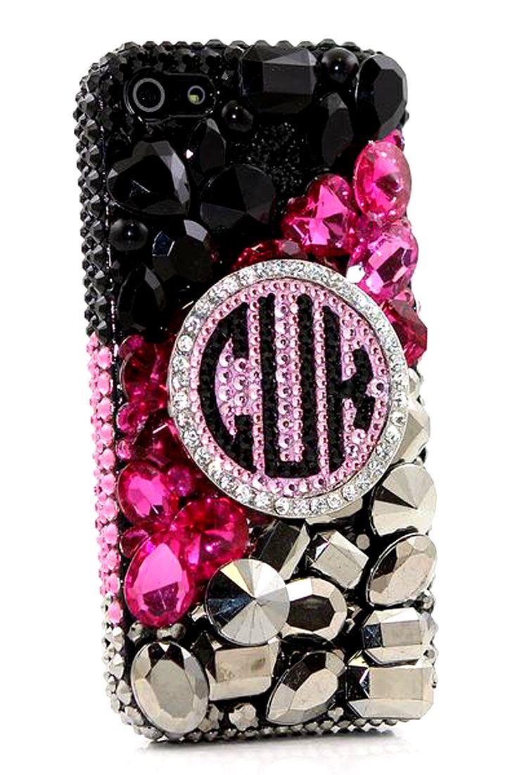 black, pink, and metallic personalized monogram design iphone 5 5cblack, pink, and metallic personalized monogram design iphone 5 5c 5s case for teens fashion