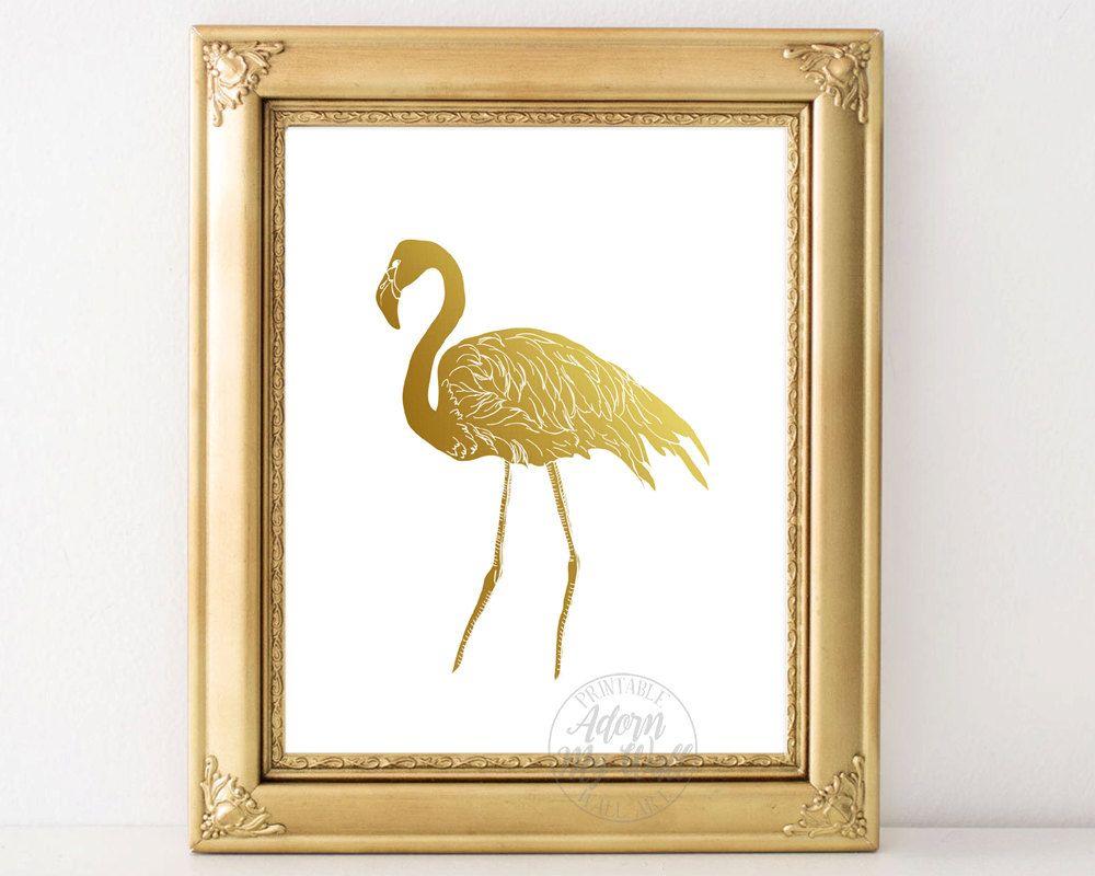 Gold flamingo print, art, instant download, gold foil, wall art ...