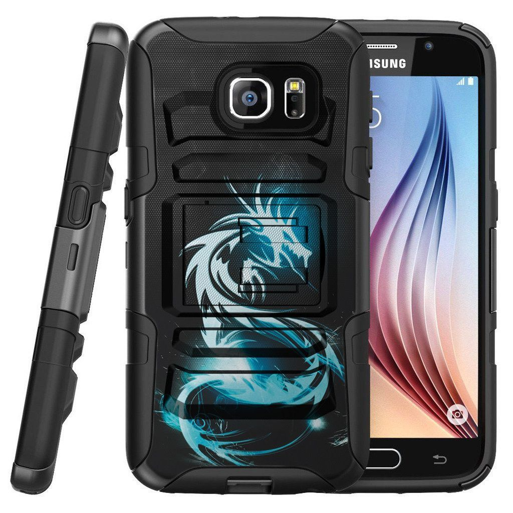 Galaxy S7 Edge Case CLIP ARMOR, Kickstand Holster Combo Set- White Dragon