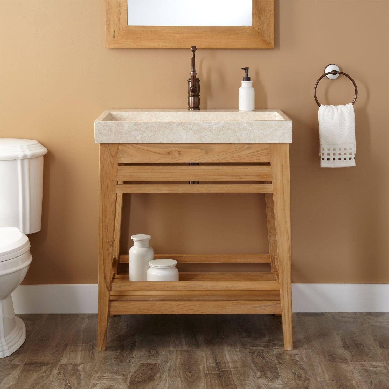 30 Quot Aurelia Teak Trough Sink Vanity Bathrooms Bathroom
