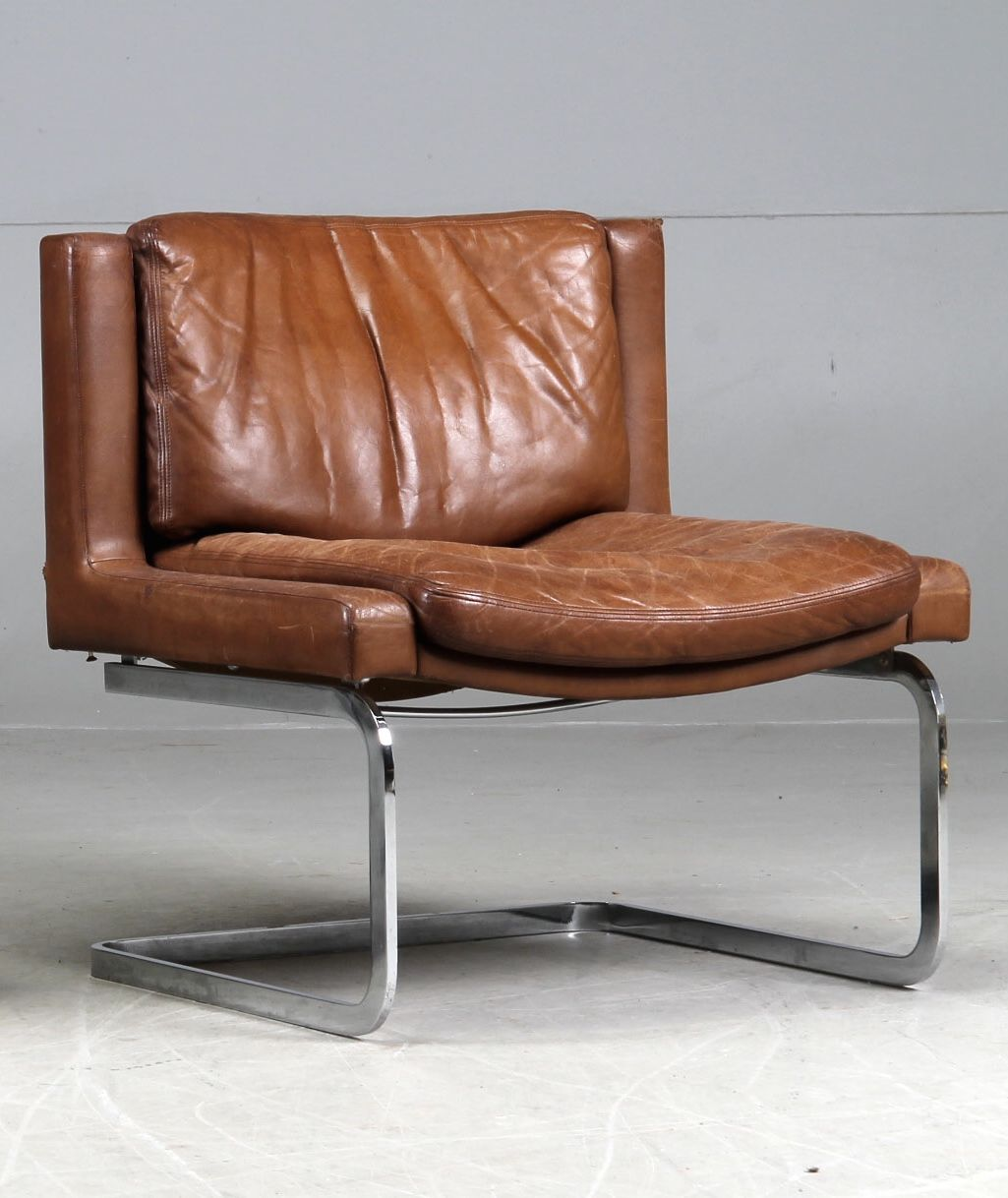 Metal And Leather Chair Anonymous Chromed Steel And Leather Lounge Chair By De