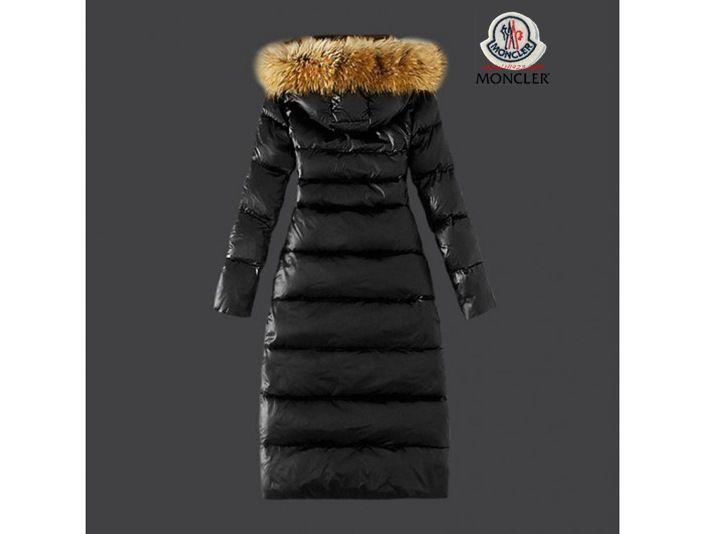competitive price 1ab0b 88c8b outlet Moncler Damen Chic schwarze lange Daunen mantel Pelz ...