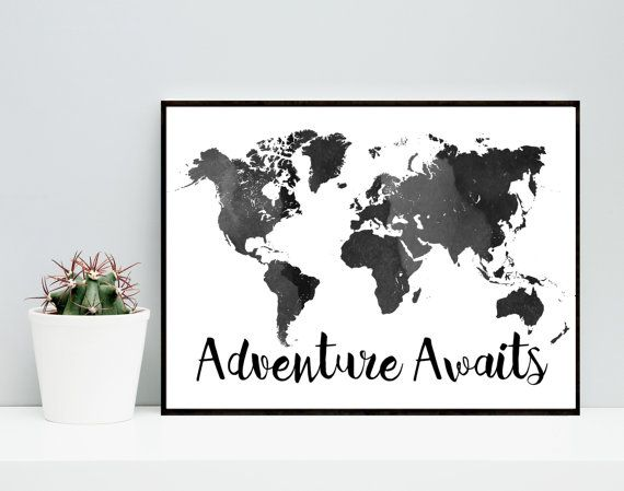 Adventure awaits black world map printable art watercolor map adventure awaits black world map printable art by honeytreeprints sciox Image collections