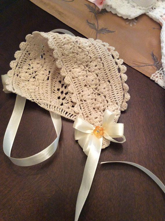 Field of flowers crochet christening bonnet pdf pattern, baby bonnet ...