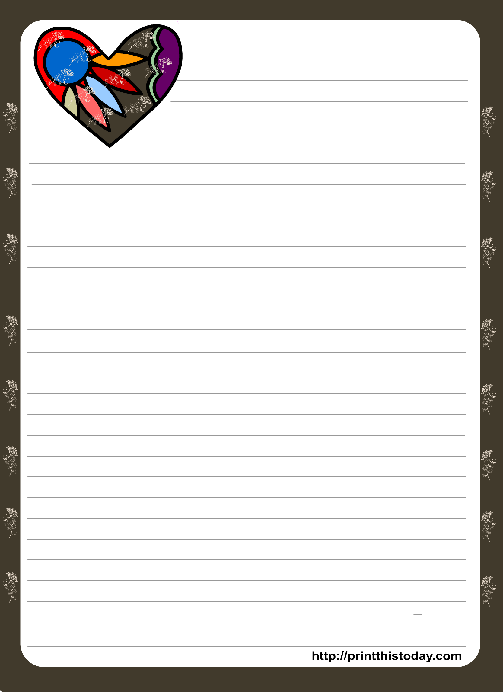 Love Letter Pad Stationery With Colorful Heart