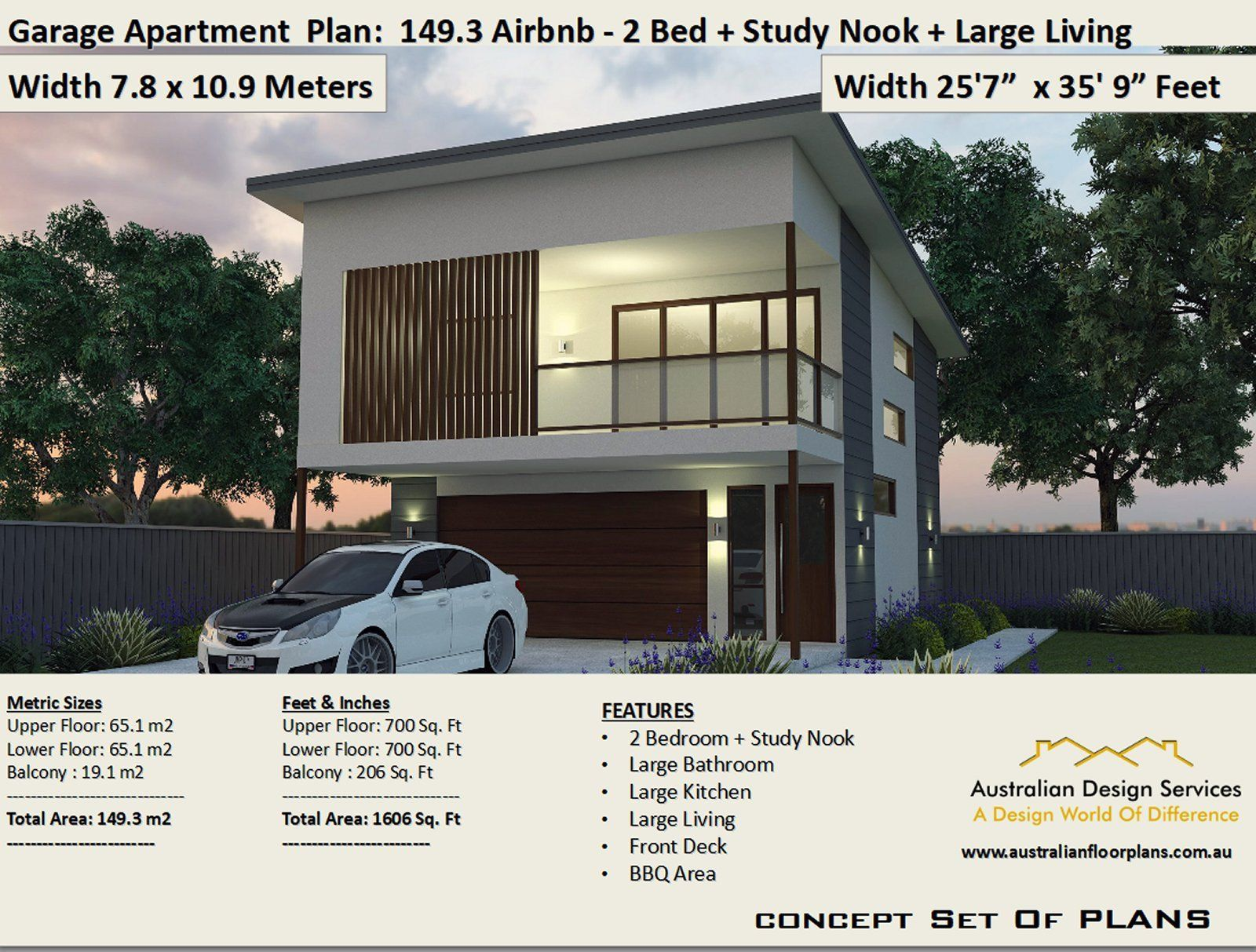 Best 2 Bed + Study house plan Area 149.3 m2 | 1606 sq foot | airbnb Apartment | Carriage house | 2 Bed Concept House Plans For Sale
