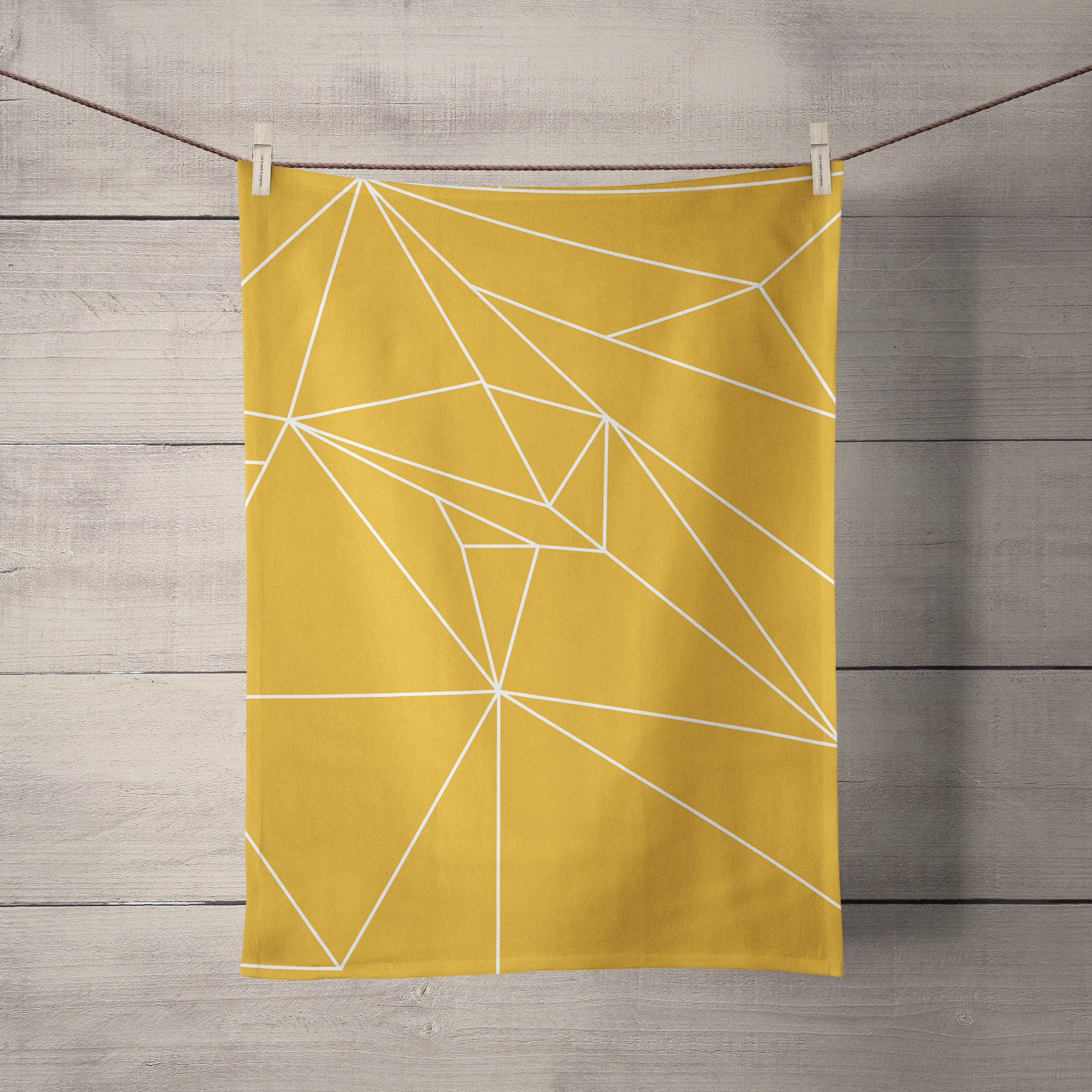Yellow Geometric Tea Towels Yellow Kitchen Accessories Mustard