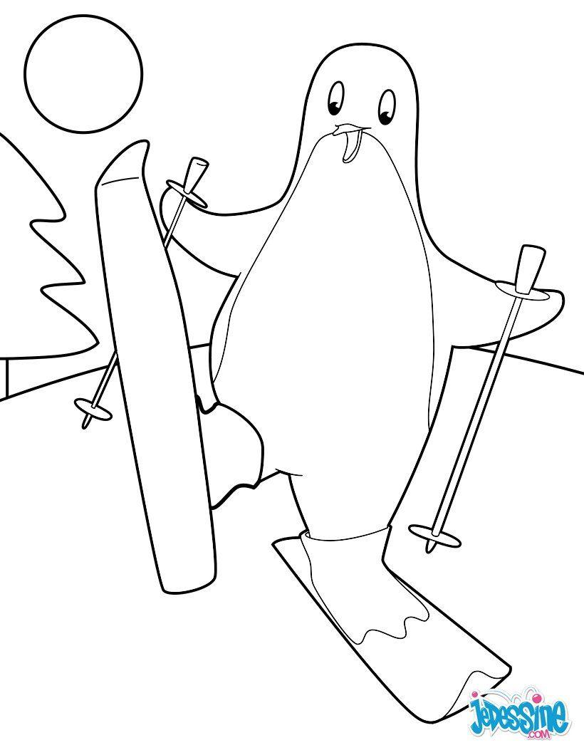 Coloriage Pingouin au ski Désormais tu peux partager ton coloriage Pingouin au ski en l envoyant directement de ton smartphone ou de ta tablette
