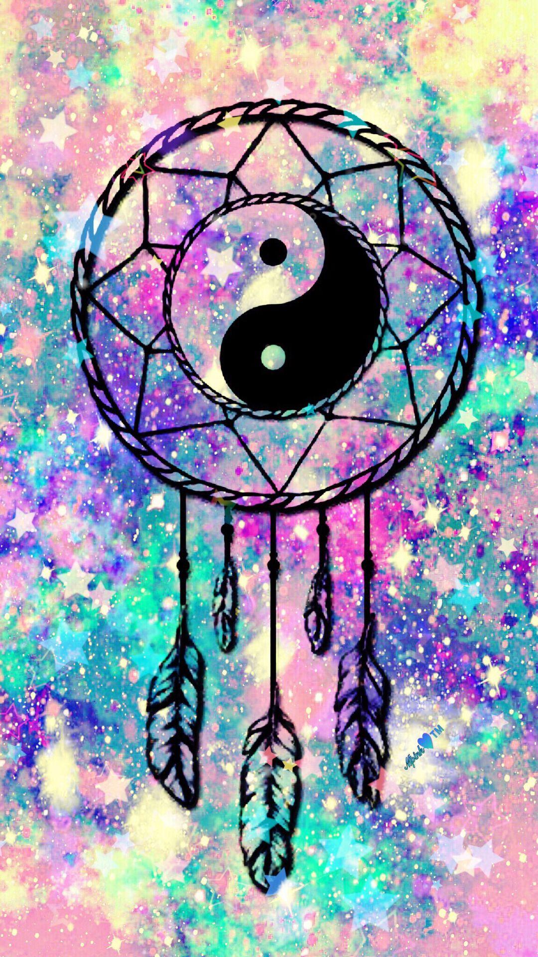 Yin Yang Dreamcatcher Galaxy Wallpaper androidwallpaper