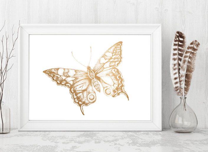 Gold Butterfly Print, Faux Gold Foil, Minimalist Wall Art ...