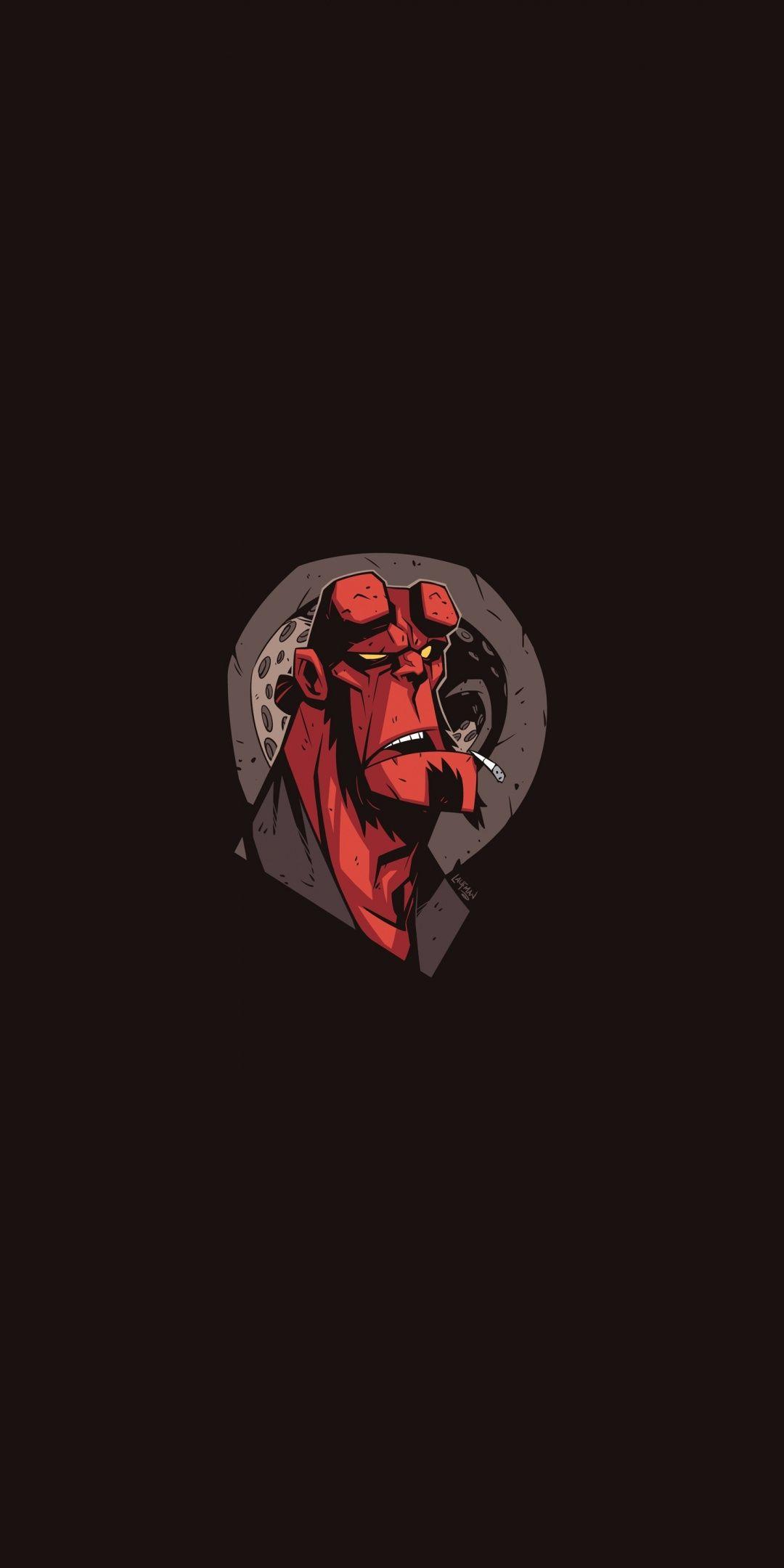 Hellboy Lazy Minimal 1080x2160 Wallpaper Geeky Wallpaper Hellboy Wallpaper Superhero Wallpaper