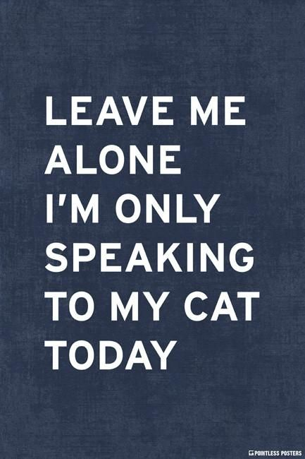 Leave Me Alone Im Only Speaking To My Cat Today Poster Posters