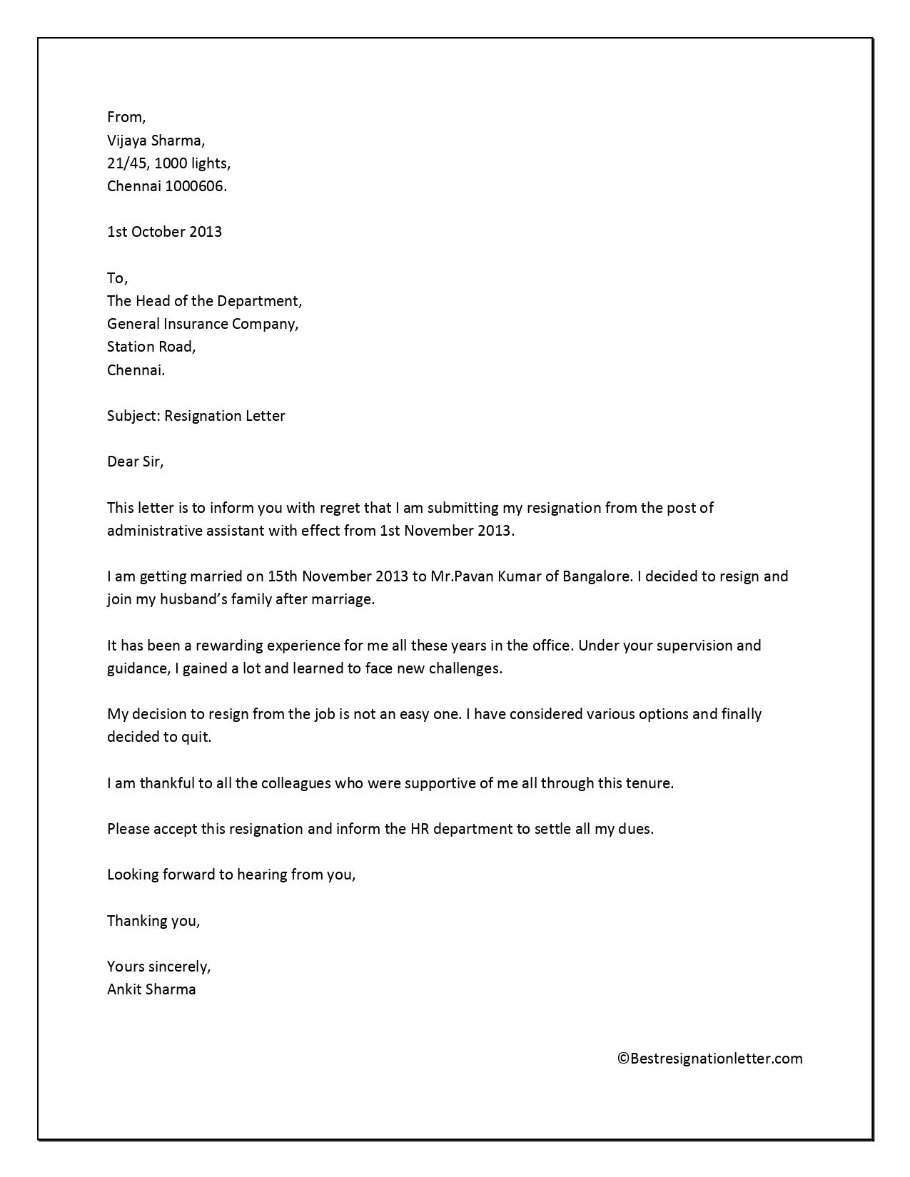Pin on Resignation Letter