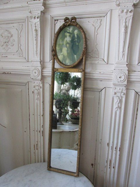 Exquisite Old French Trumeau Mirror Barbola Gesso Oval Top
