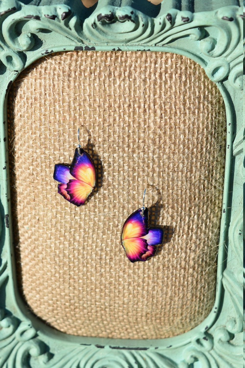 Purple, Pink, and Yellow Butterfly Earrings by ValeriesVanityMirror on Etsy