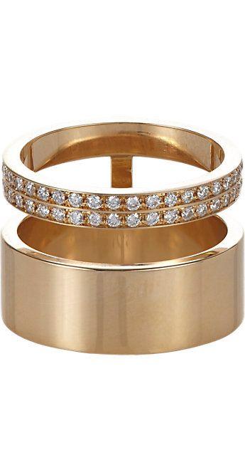 Repossi Diamond & Gold Berbère Module Midi Cage Ring -  - Barneys.com