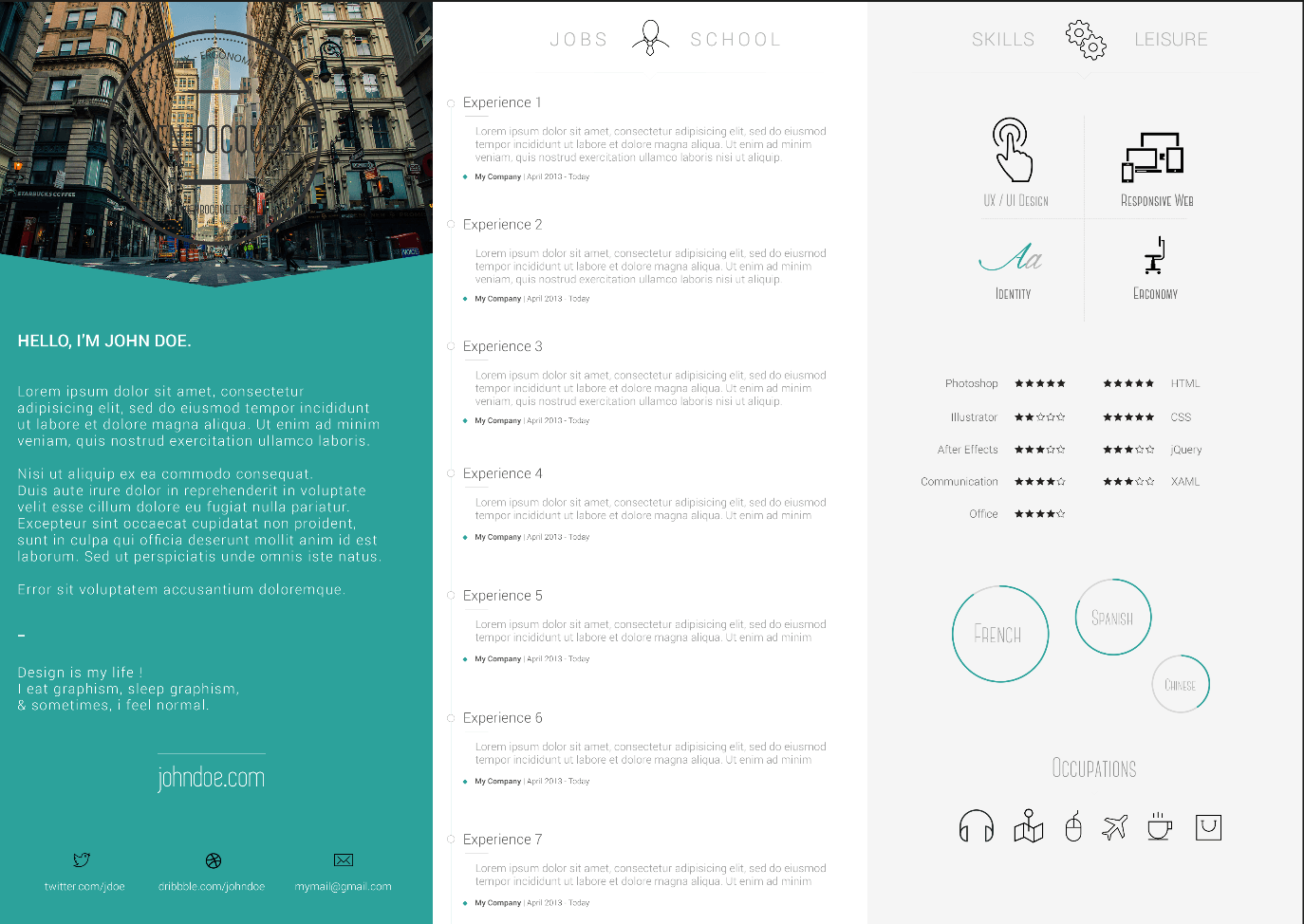 design cv creative john doe template design