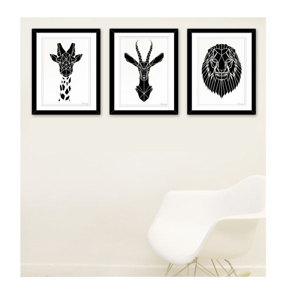 Items similar to set of 3 black and white printsgeometric safari animal prints faux taxidermy childrens art for nursery origami inspired dorm prints on