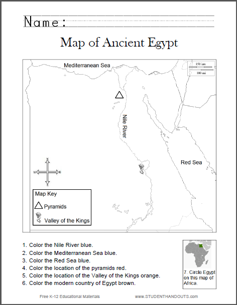 Ancient Egypt Map Worksheet Map of Ancient Egypt Worksheet for Kids, Grades 1 6   Free to
