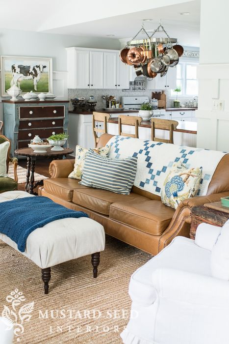 Pin On My Home If I Could Decorate, Cottage Style Living Room With Leather Couch