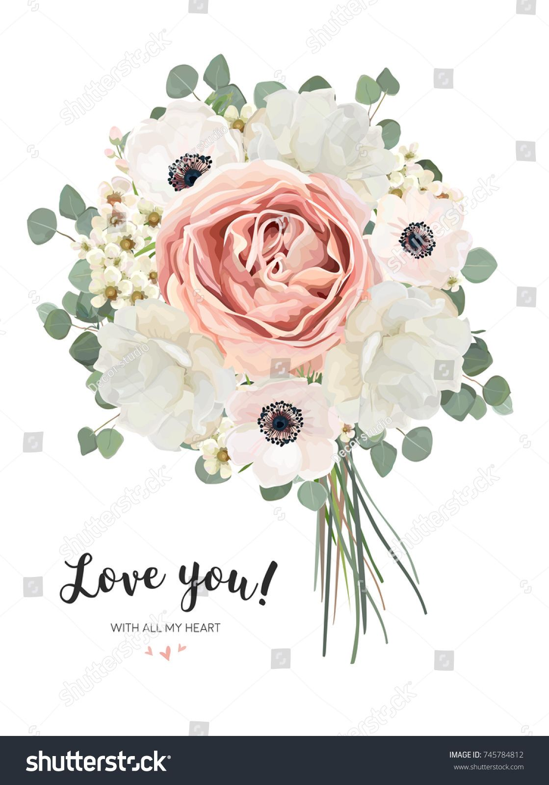Flower Bouquet Floral Bunch Vector Card Design With Bouquet Of