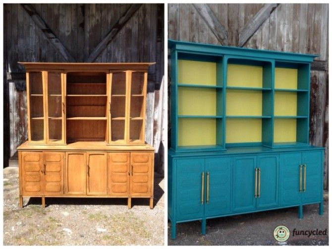 Office Idea Remove Doors From An Old Buffet Hutch Combo And Paint Dining HutchBuffet HutchDining RoomColorful FurniturePainted FurnitureMid Century