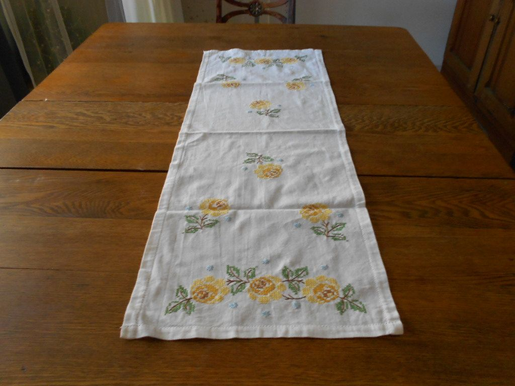Vintage Cross Sch Hand Embroidered Yellow Rose Linen Dresser Scarf Table Runner Circa 1960 S By Evastalbans
