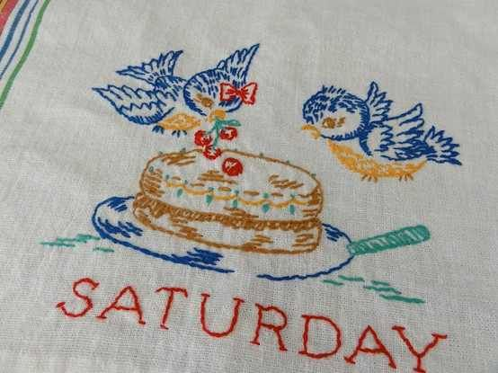 VIntage dish towel with embroidered blue birds decorating ...