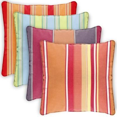 Square Outdoor Pillow 30x30 Stripes Cd30p Sunbrella Fabric Outdoor Pillows