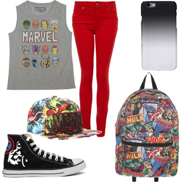Super Mania by breemanor on Polyvore featuring polyvore fashion style Marvel Paige Denim Converse C6