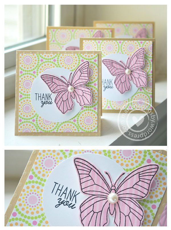 handmade notecards ... small squares ... thank-you ... butterfly stamped on striped paper and puched out .. circle theme ... big dots embossed on base .... dotty circles printed paper ... die cut circle tag ... circle pearl body ... luv the design ...