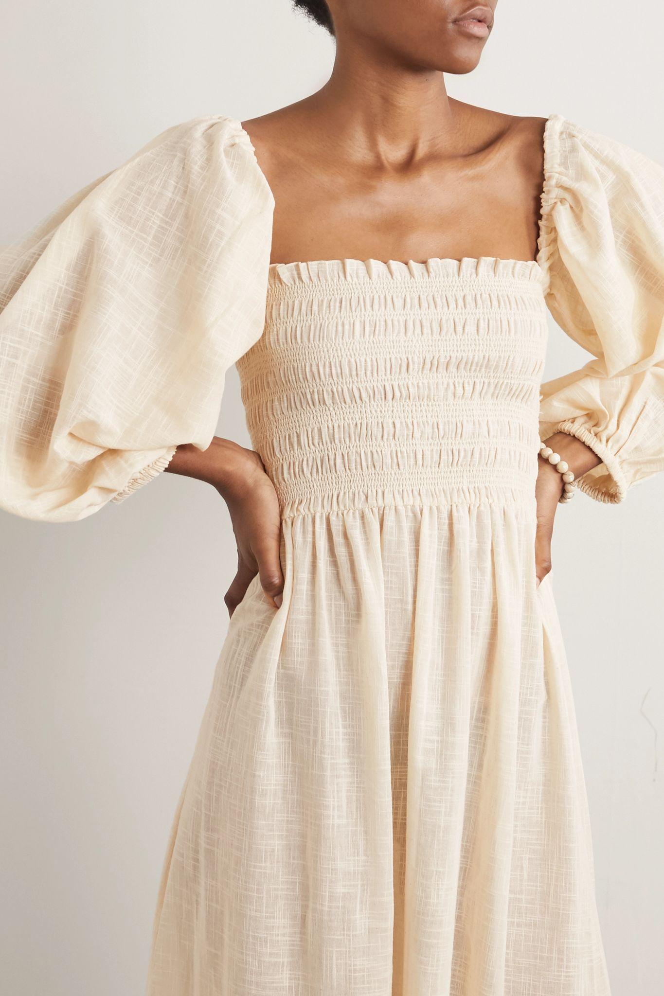 Cream Net Sustain Agatha Shirred Organic Cotton Gauze Midi Dress Cloe Cassandro Fashion Dresses Style [ 2048 x 1365 Pixel ]