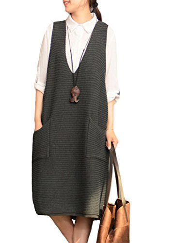 Minibee Women's Knitted Deep V-neck Sweater Vest Style 3 Gray ...